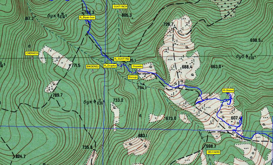 Фрагмент карты района южного склона Чатырдага