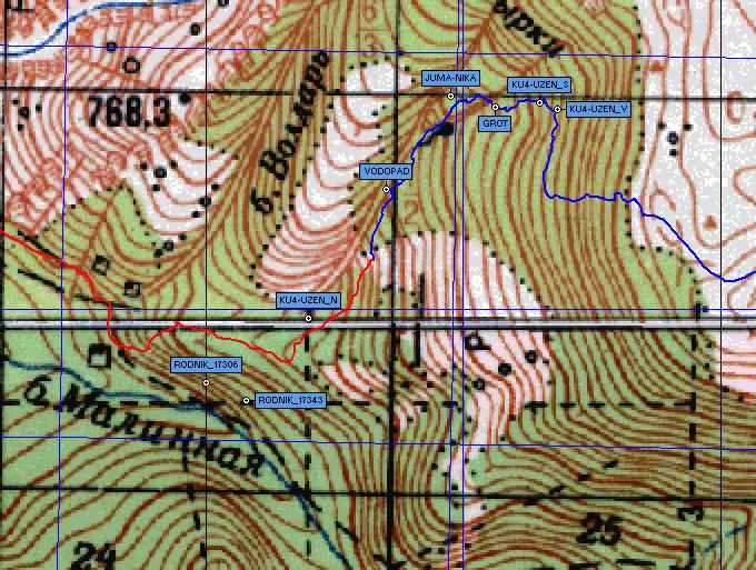 Фрагмент карты ручей Куч-Узень